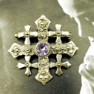 Vintage 900 silver amethyst Jordan Jerusalem Cross